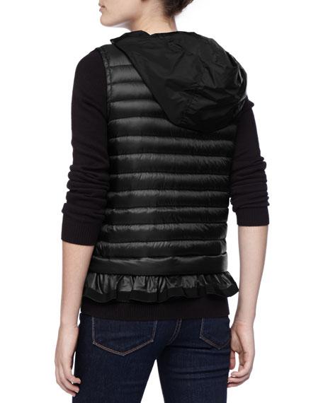Hooded Peplum Puffer Vest, Black