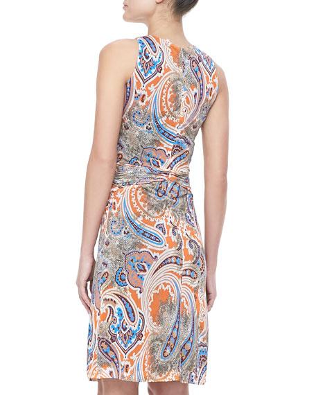 Sleeveless Paisley Jersey Dress, Orange/Multi