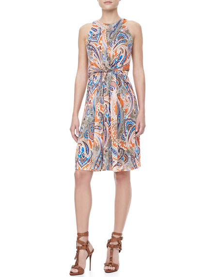 Sleeveless Paisley Jersey Dress, Orange/Multi