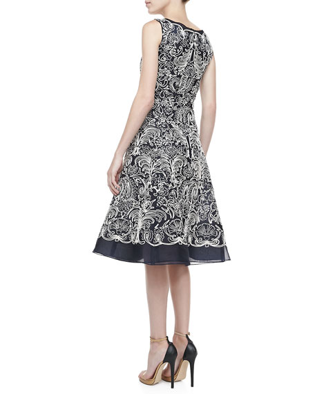 Embroidered Silk Organza A-Line Cocktail Dress, Navy