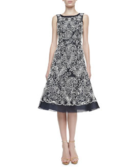 Oscar de la Renta Embroidered Silk Organza A-Line Cocktail Dress, Navy