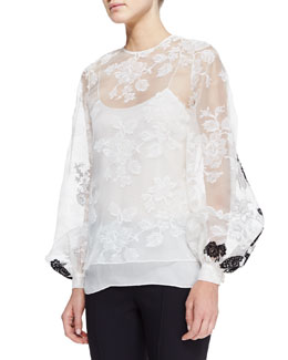 Oscar de la Renta Sheer Long-Sleeve Lace Blouse, White