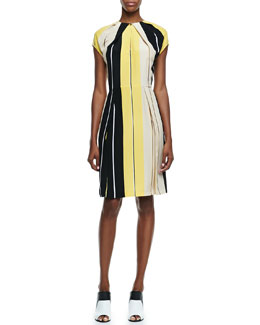 Fendi Cap-Sleeve Striped Silk Dress, Lemon/Black/Cream