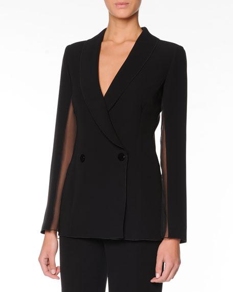 Sheer-Inset Cocktail Jacket, Black