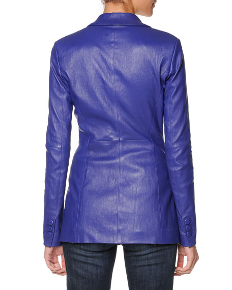 Three-Button Plonge Leather Jacket, Cobalt