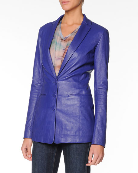 Three-Button Plonge Leather Jacket, Cobalt