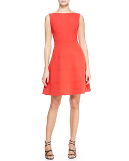 Lela Rose Boat-Neck Dress with Full Skirt, Persimmon