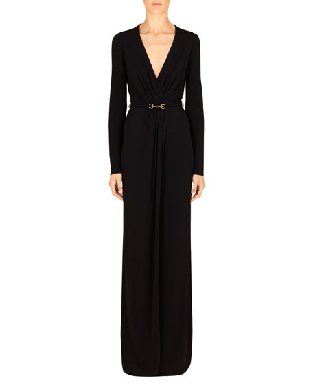 Long-Sleeve Deep-V Jersey Dress Gown, Black