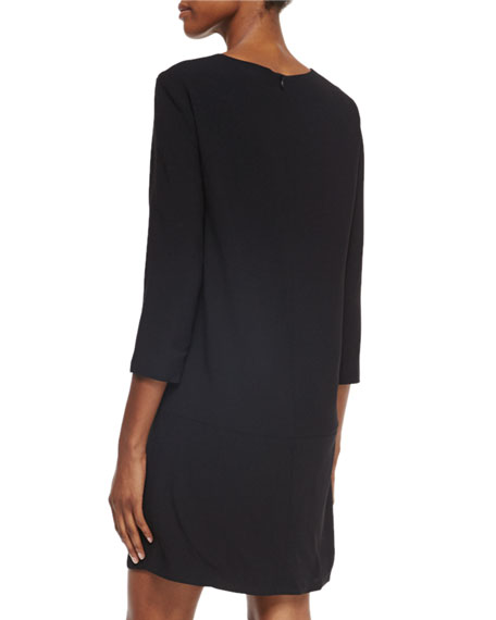 3/4-Sleeve Dress with Pockets, Black