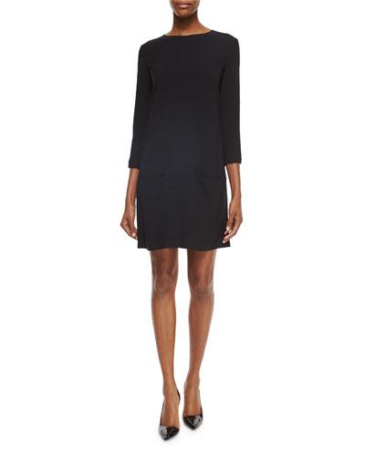 3/4-Sleeve Dress with Pockets, Black