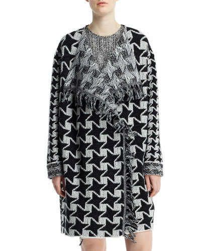 Stella McCartney Houndstooth Blanket Coat with Fringe, Black/Chalk