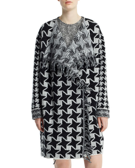 Houndstooth Blanket Coat with Fringe, Black/Chalk