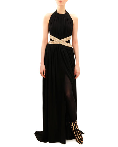 Balmain Beaded-Waist Sleeveless Jersey Gown