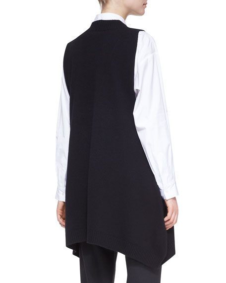 A-Line Sleeveless Deep-V Long Cashmere Sweater, Black