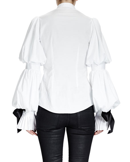 Puffed Sleeve Blouse w/ Ribbon Cuffs, White
