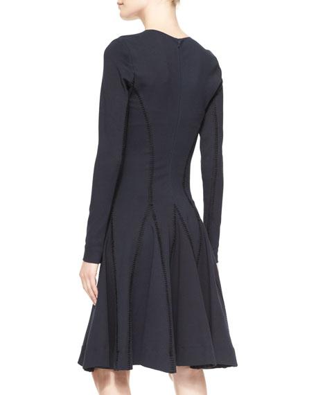 Long-Sleeve Stitched Godet Dress