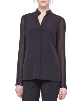 Akris punto Embellished-Edge Silk Blouse