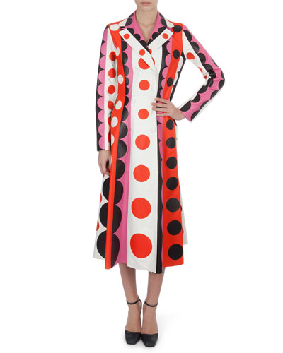 Valentino Carmen Striped Polka-Dot Leather Trench Coat