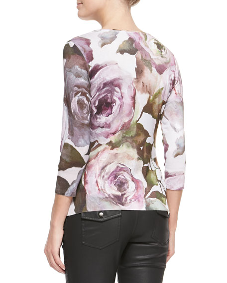 Floral-Print Knit 3/4-Sleeve Blouse