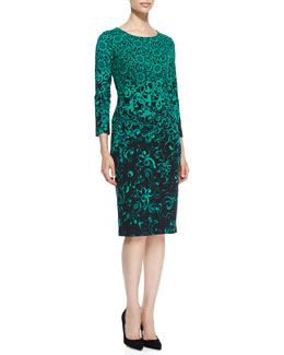 Escada 3/4-Sleeve Floral Sheath Dress