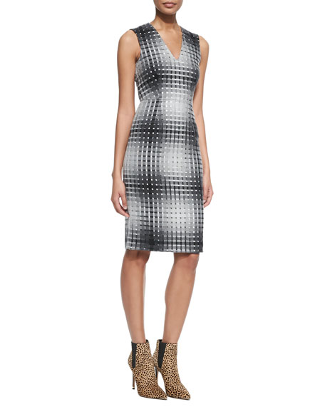 Sleeveless Flannel Sheath Dress with Metallic Squares