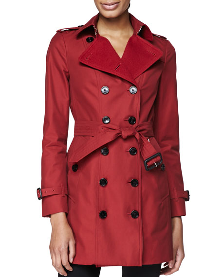 Double-Breasted Trench Coat with Felt Lapel, Military Red