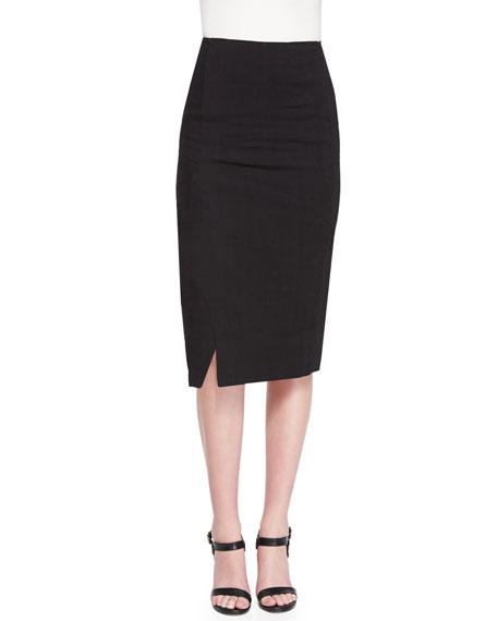 Straight Midi Skirt w/ Side Slit