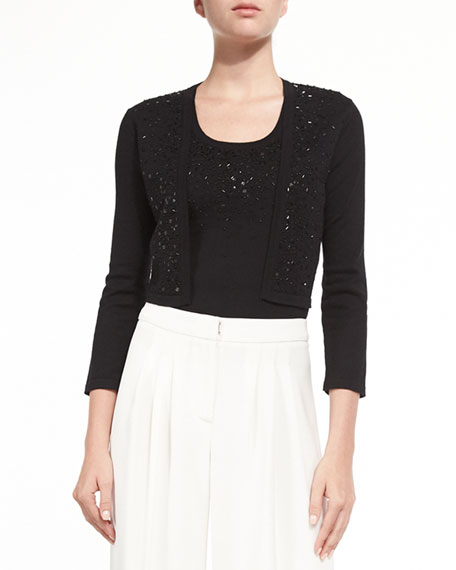 Carolina Herrera Beaded Knit Boler & Front-Beaded Knit