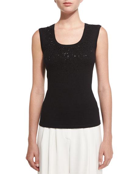 Carolina Herrera Front-Beaded Knit Shell, Black
