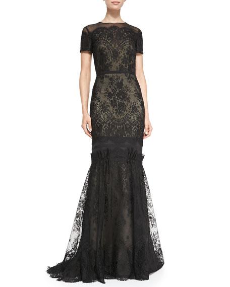Carolina Herrera Short-Sleeve Tiered Lace Evening Gown