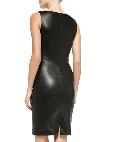 Fitted V-Neck Leather Dress, Black