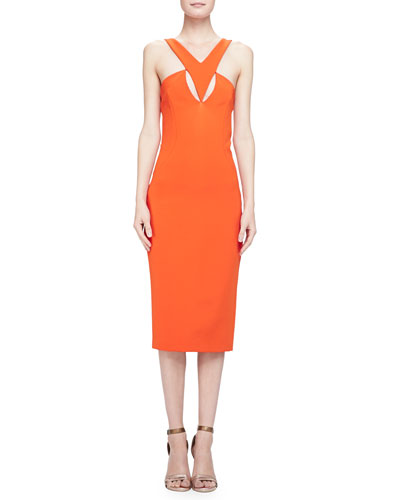 Cutout Crepe Halter Dress, Tangerine