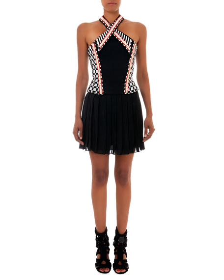Beaded Halter Dress with Short Skirt, Black/White/Orange