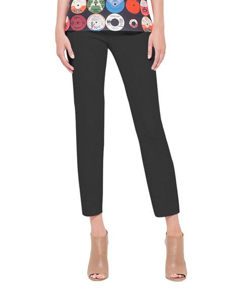 Akris punto Franca Square-Front-Pocket Ankle Pants, Noir