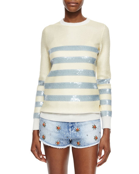 Gucci Cashmere Sweater with Striped Sequin Embroidery