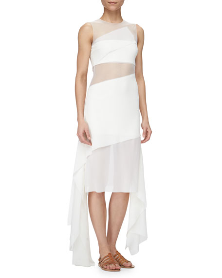 Akris Rectangle-Paneled Tulle-Inset Dress, Calcite