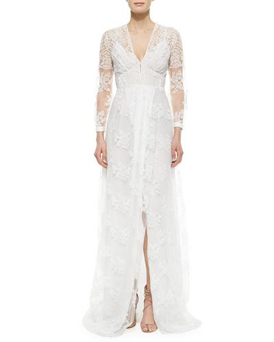 Floral-Lace Overlay Dress, Off White
