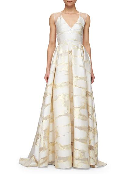 Lela Rose Sheer-Back Metallic Space-Dyed Gown, Gold