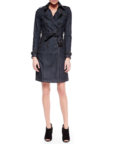 Denim Belted Trench Coat, Indigo