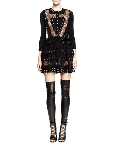 Studded Lace-Inset Mini Dress, Black