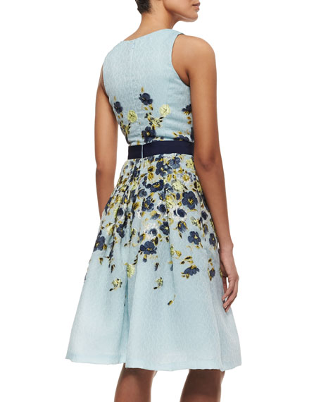 Carolina Herrera Floral-Embroidered Fil Coupe Cocktail Dress