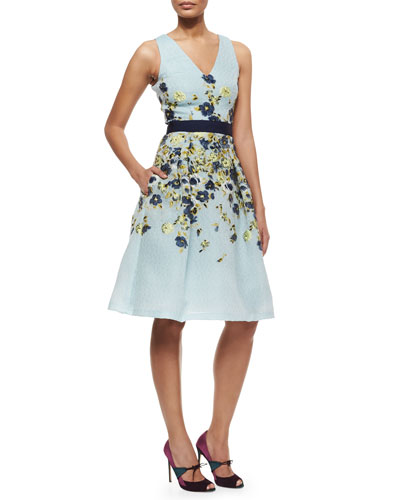 Floral-Embroidered Fil Coupe Cocktail Dress