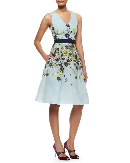 Carolina Herrera Floral-Embroidered Fil Coupe Cocktail Dress
