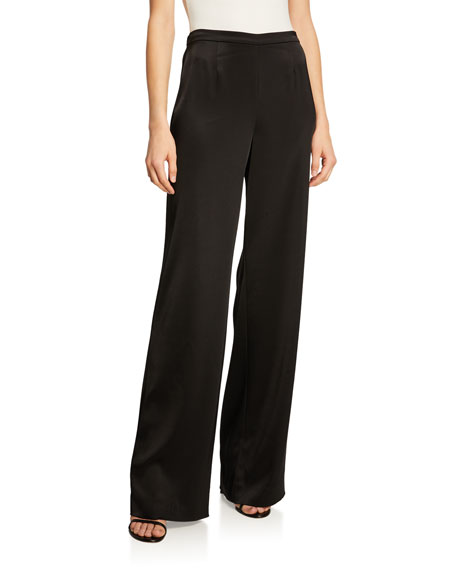 St. John Collection Kate Satin Wide-Leg Pants &