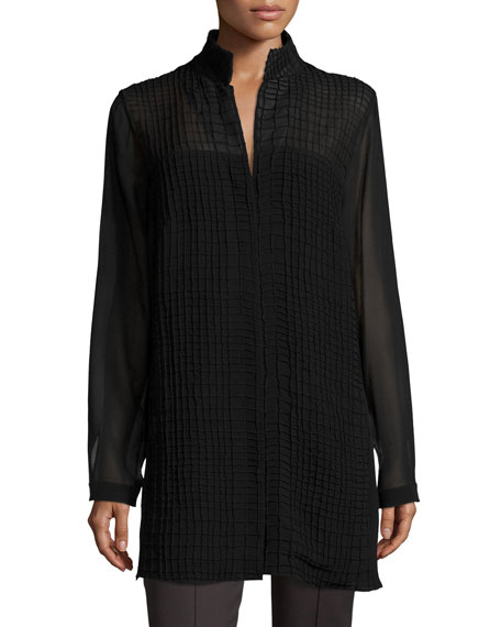 Georgette-Grid Long-Sleeve Blouse, Black