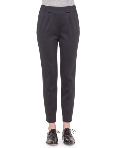 Bi-Color Jersey Casual Pants, Black/Silver