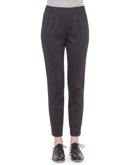 Akris Bi-Color Jersey Casual Pants, Black/Silver