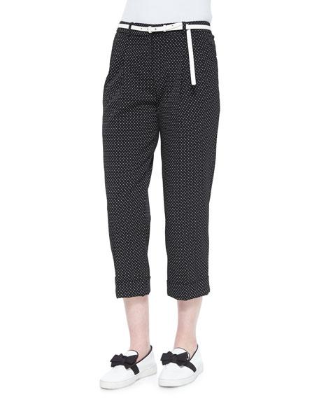 Michael Kors Collection Pindot-Pattern Slouchy Capri Trousers