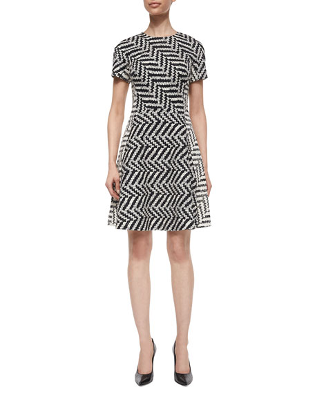 Lela Rose Mixed-Direction Chevron Jacquard Dress
