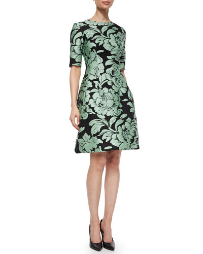 Women's Designer Clothing Catalogs Metallic Floral Jacquard Dress